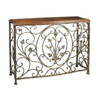 Vintage Distressed Pecan Brown Finish Metal Console Table | Overstock.com  Shopping   Great Deals