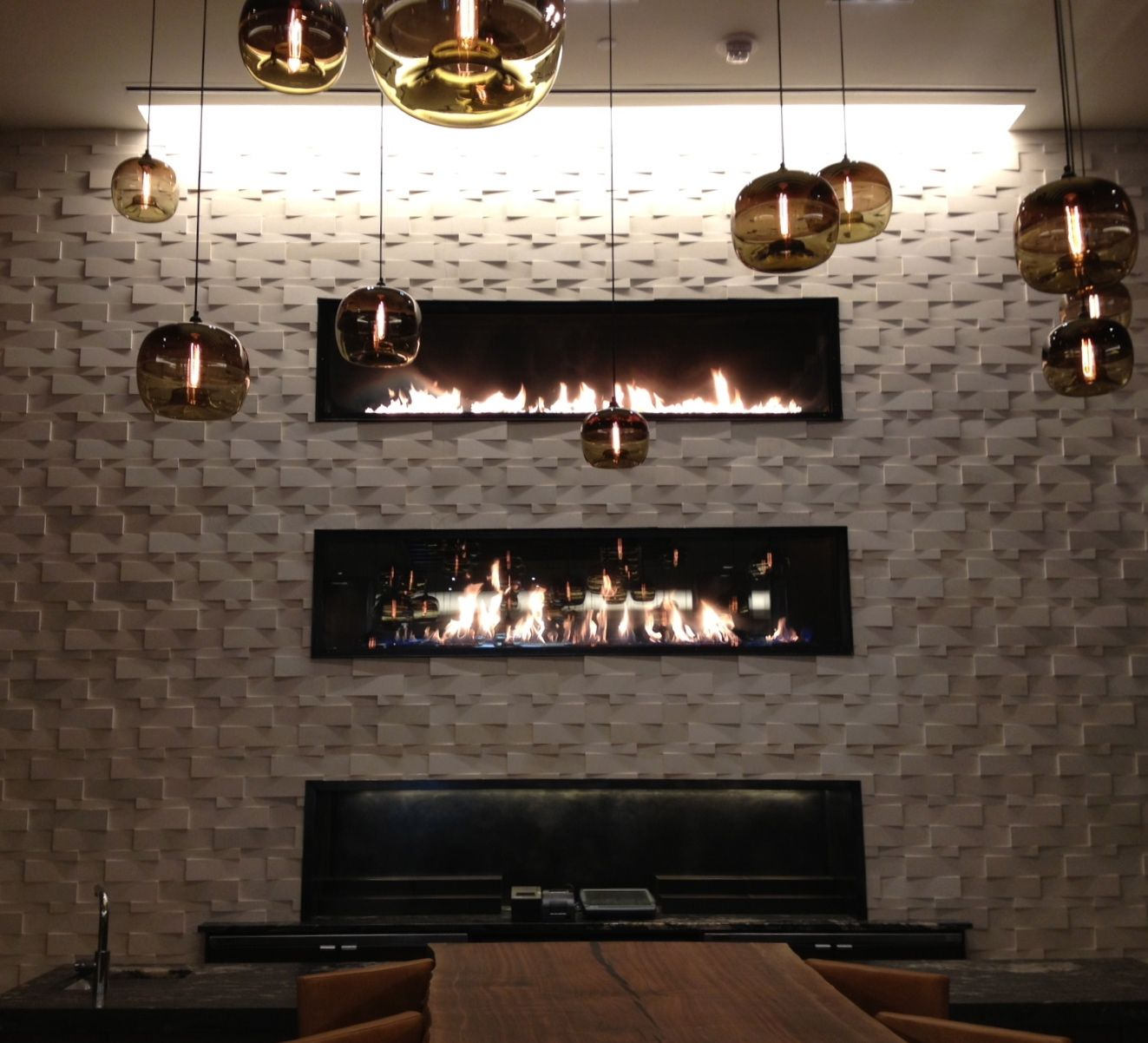 Custom Stacked Gas Fireplaces