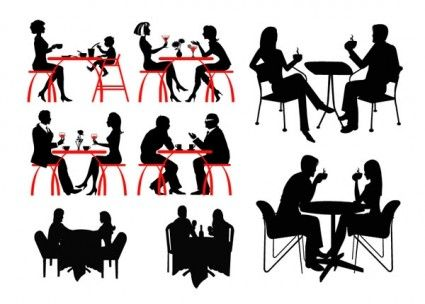 coffee people silhouette vector