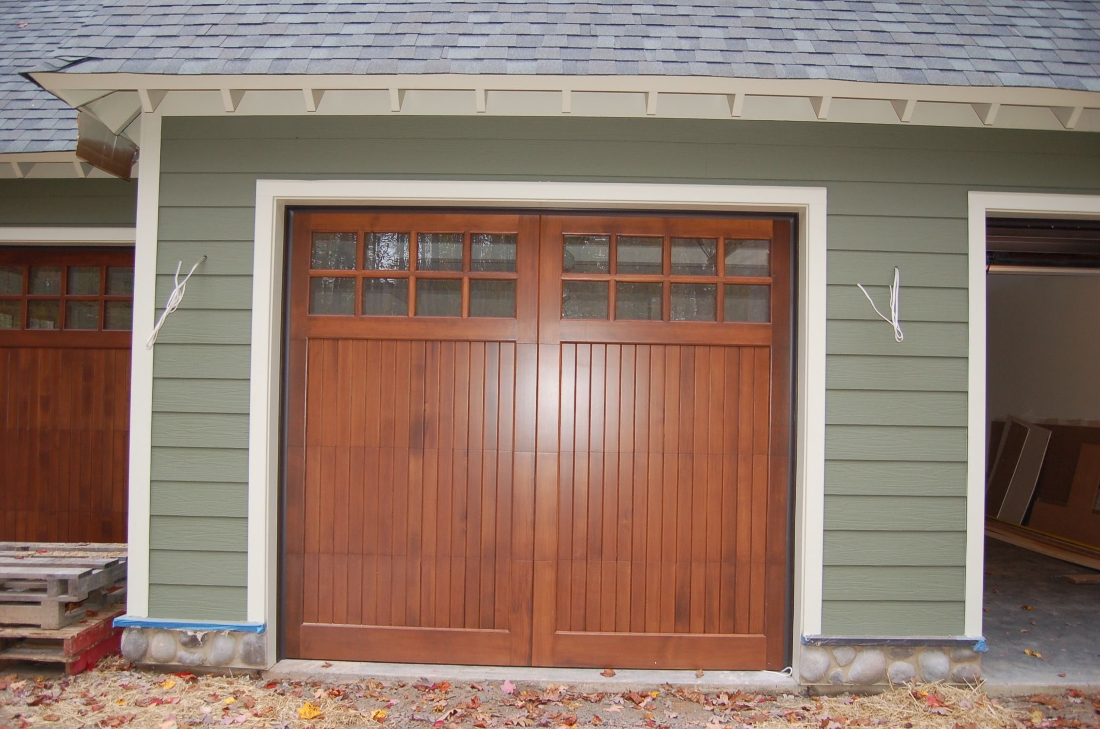 Garage And Front Doors That Match Matching Wood Garage And Front Doors House Ideas Craftsman