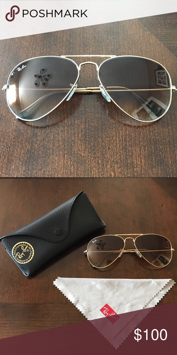 ea6220405143c Ray Ban Sunglasses Ran Ban Sunglasses. Gradient lens. Non polarized. Gold  frames. Excellent condition. Comes with case and cleaning cloth. Price is  firm.