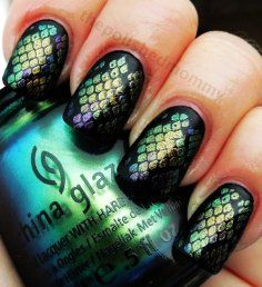 Beautiful nail art - fish scale design.