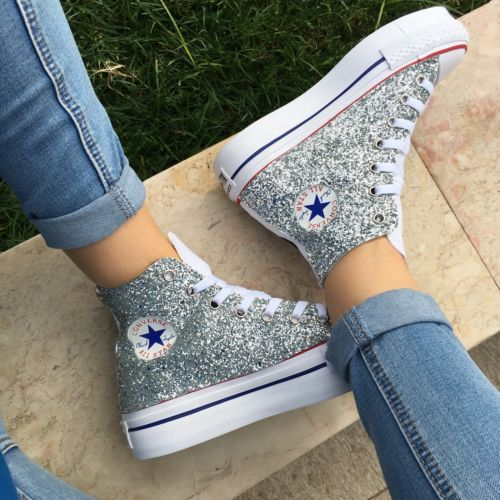 uk availability 85f7c a8ba3 Converse-All-Star-Platform-Bianche-Glitter-Borchie-NUOVE-