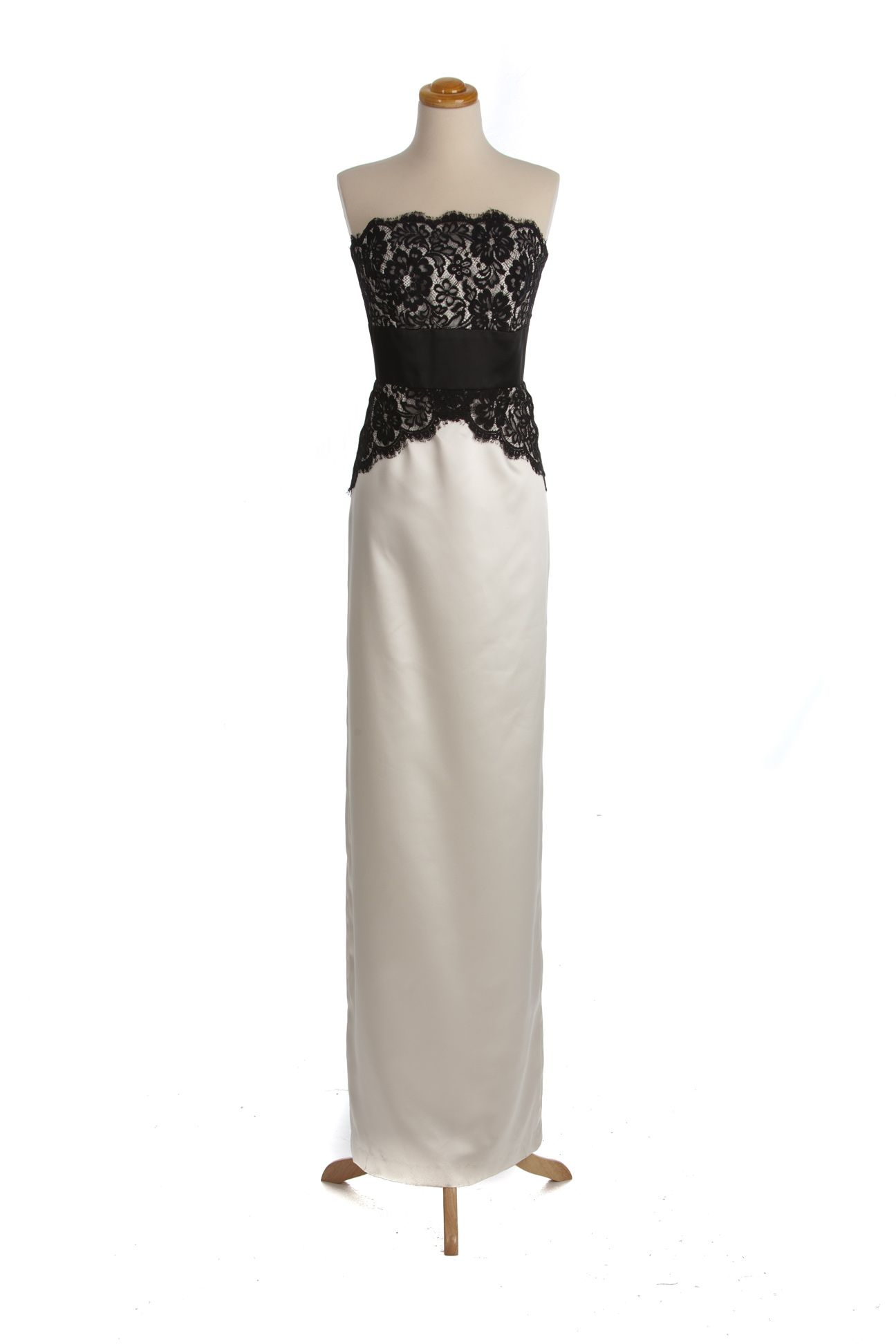 Satin Gown with Black Lace Overlay by Dessy Collection // shopjoielle.com