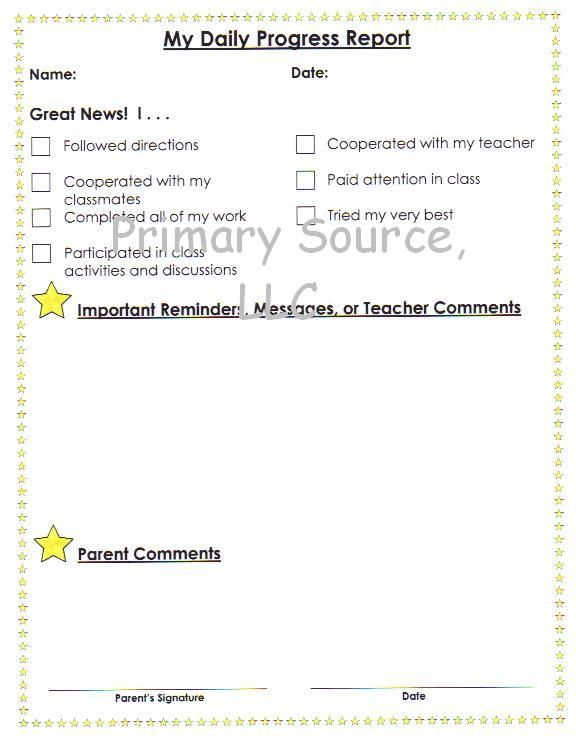 Daily progress report classroom pinterest preschool for Summer school progress report template
