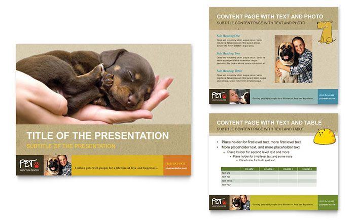 animal shelter and pet adoption powerpoint presentation design template by stocklayouts fun. Black Bedroom Furniture Sets. Home Design Ideas