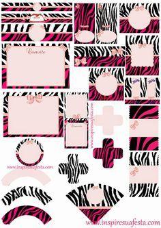 Zebra and Pink Free Printable Kit.