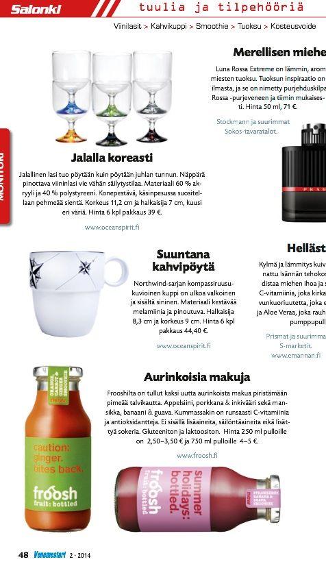 Froosh-uutuudet maistuvat myös venekansalle, Venemestari-lehti 2/2014.