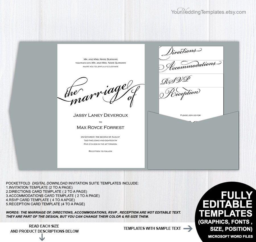 Black And White Modern Pocketfold Wedding Invitation Suite Pocket   Microsoft  Templates Invitations  Microsoft Word Templates For Invitations