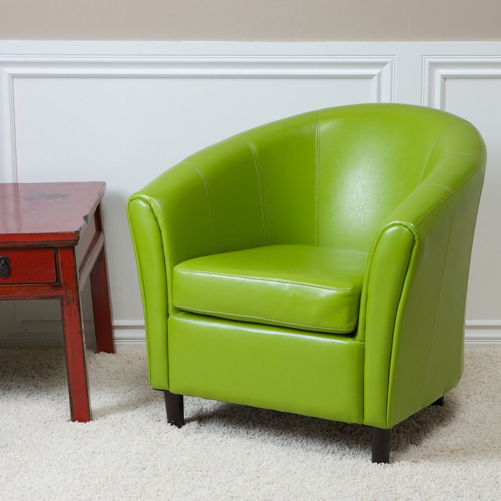 Newport Lime Green Leather Club Chair Leather club