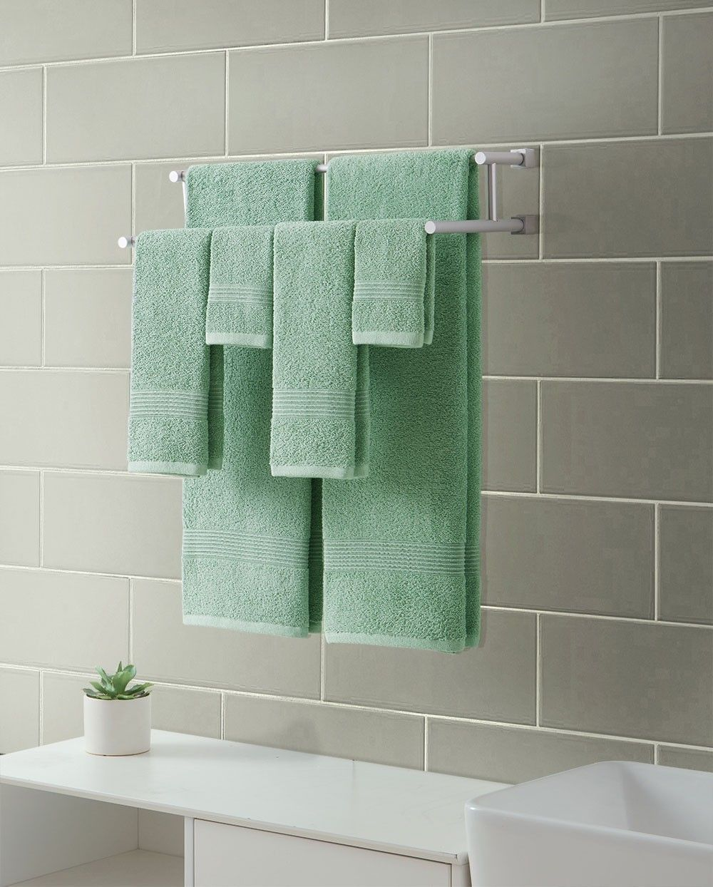 Vcny Ribbed Luxury 12 Piece Bath Towel Set Downtown Collection 100 Cotton Sage Green Discontinued No Longer Available Vcny Towel Set Luxury Towels