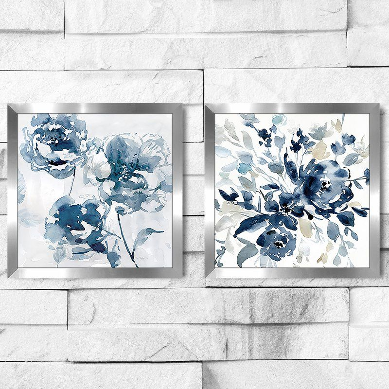 Indigo Garden I 2 Piece Picture Frame Set Print On Paper In 2021 Framed Fabric Art Canvas Wall Art Flower Art Painting