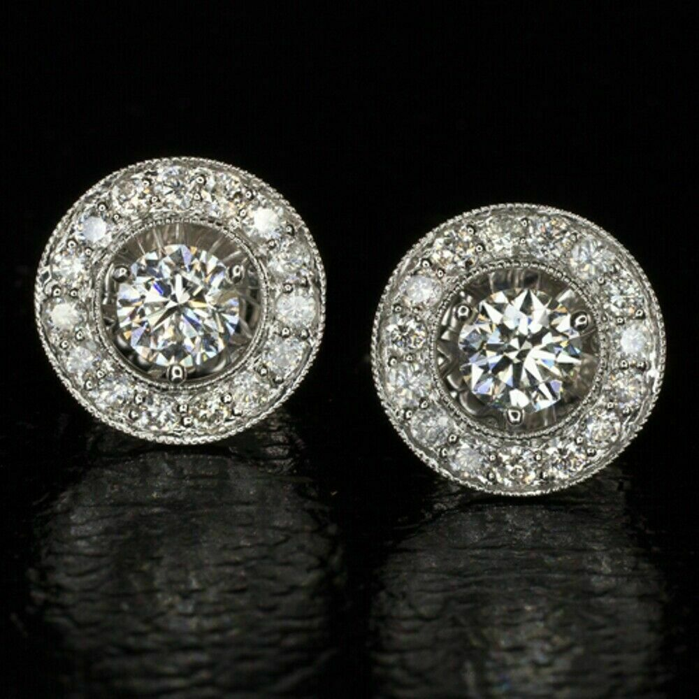 4Ct Round Cut Black Diamond Halo Push Back Stud Earrings 14K White Gold Finish