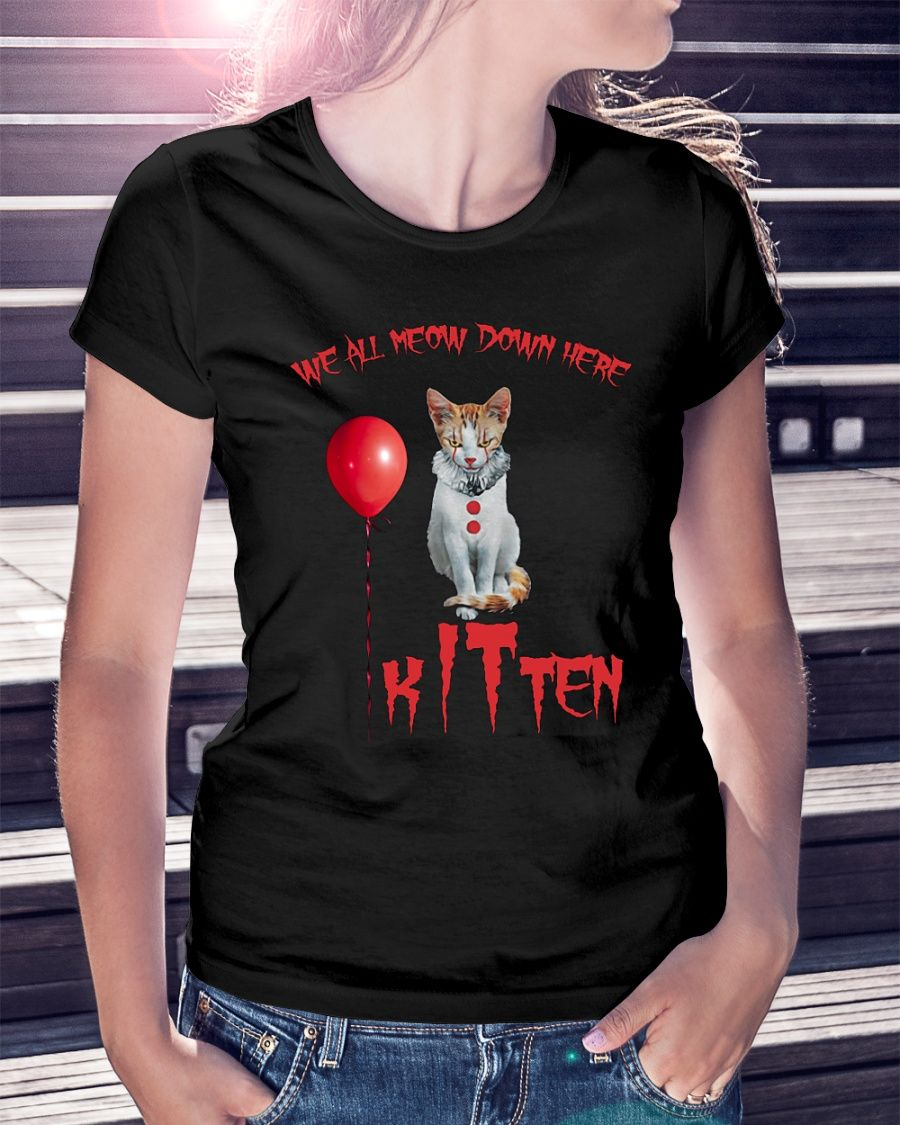 We All Meow Down Here Clown Cat Kitten It Halloween Shirt Funny T Shirt Halloween Vampire Ghost Witche With Images Halloween Shirt Cats And Kittens Halloween Vampire