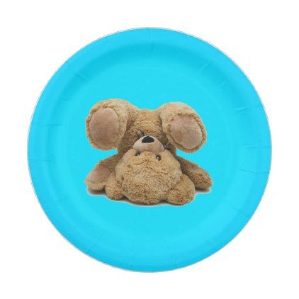 Turquoise Blue Teddy Bear Paper Plates - paper gifts presents gift idea customize | paper style | Pinterest | Blue teddy bear  sc 1 st  Pinterest & Turquoise Blue Teddy Bear Paper Plates - paper gifts presents gift ...
