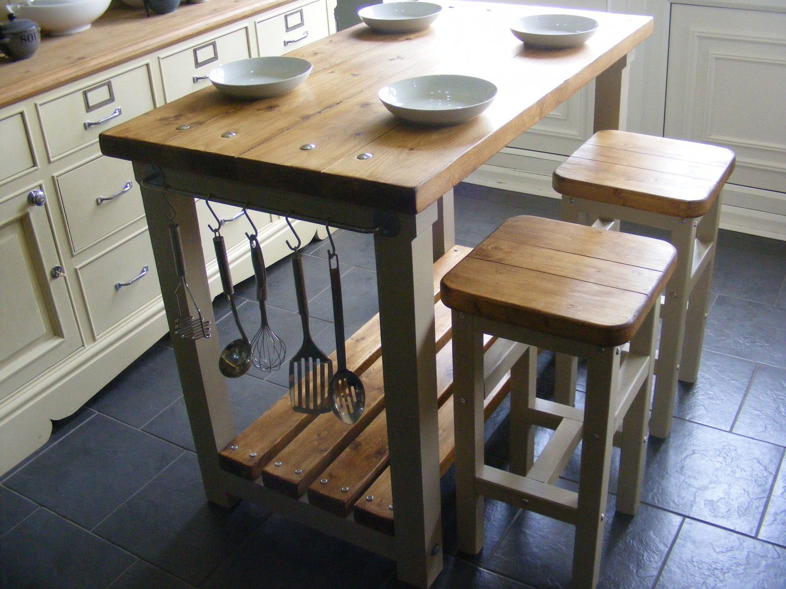 Rustic Kitchen Island Breakfast Bar Work Bench Butchers Block With