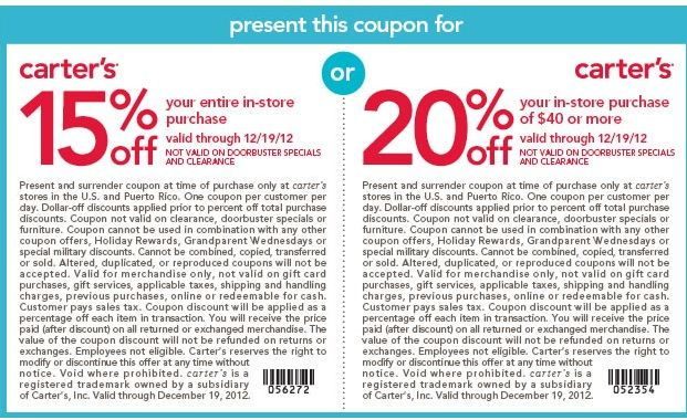picture about Osh Coupons Printable titled Carters #Coupon Order 15% off your complete invest in, or 20