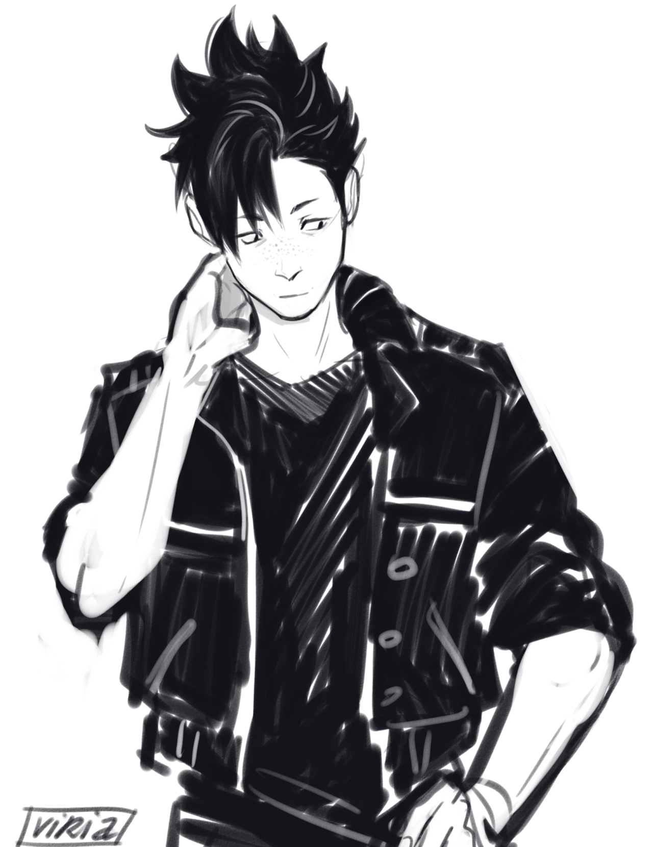 """imagine kuroo with freckles"" Аниме, Волейбол"