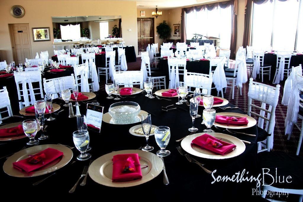 tiffany blue and black wedding decorations%0A to your wedding reception is a simple Black on White with red napkins