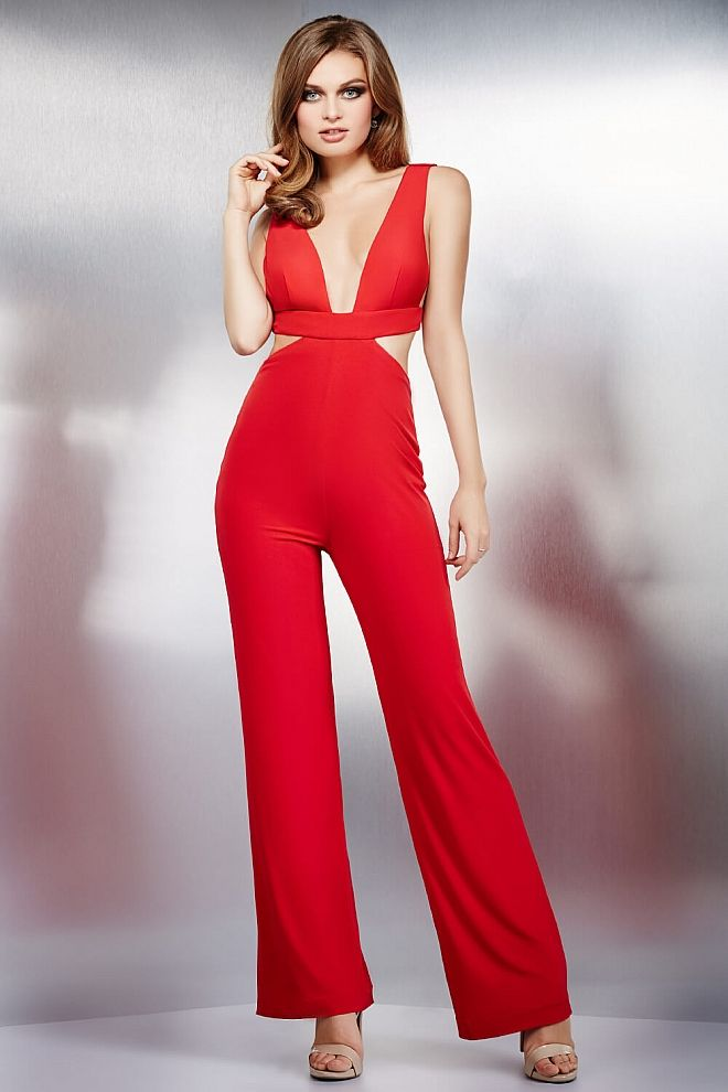3d4e51267487 Red Simple Cut out Jumpsuit 37007