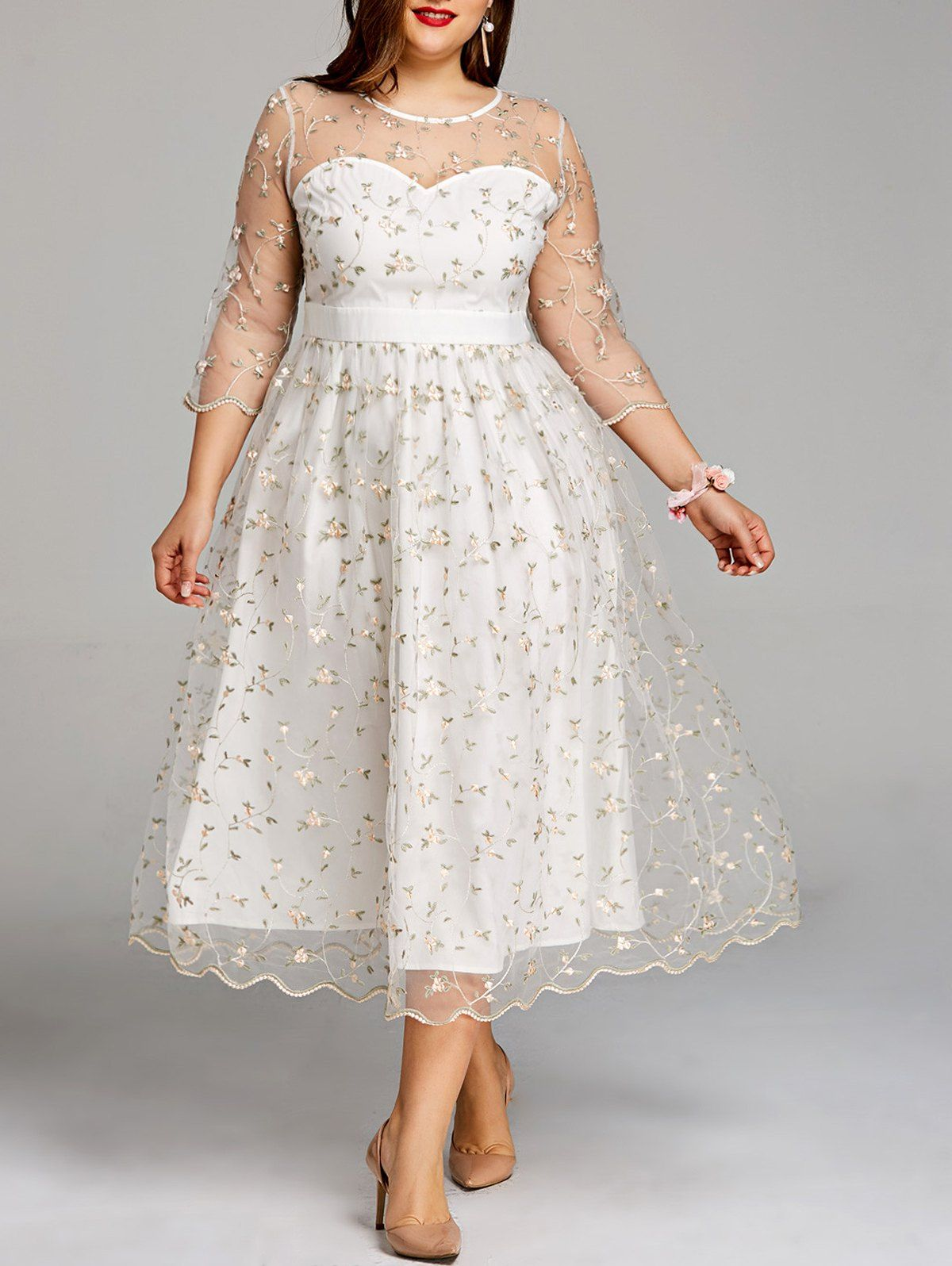 Pioneer wedding dresses  Plus Size Embroidery Floral Midi Tulle Dress  Dresses for Cindy