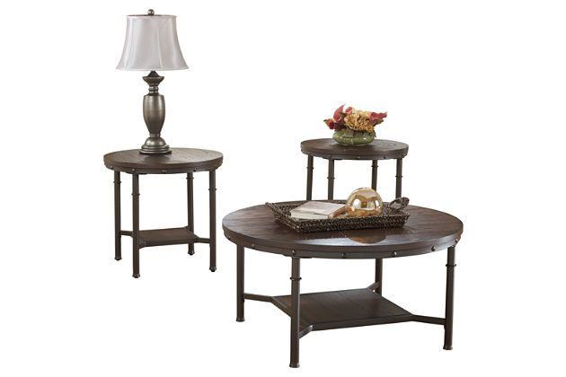 195 Rustic Brown Sandling Table Set Of 3 View 2 Coffee Table