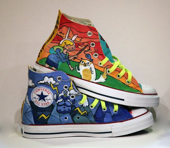 df457221e476bb Painted Converse  Adventure Time.  185.00