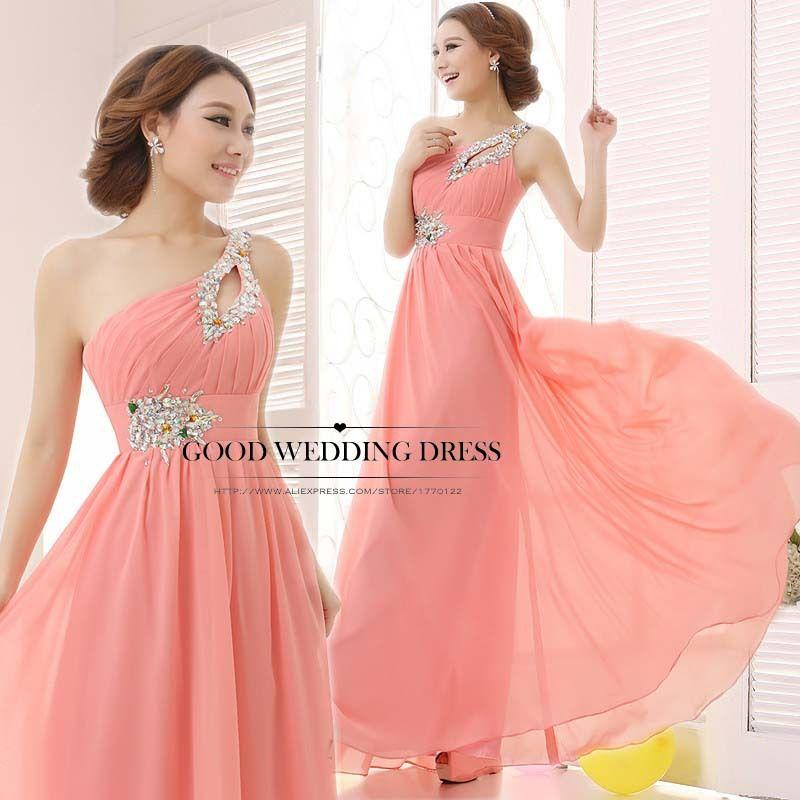 Cheap Palabra de longitud gasa vestido de noche largo vestido rosa ...