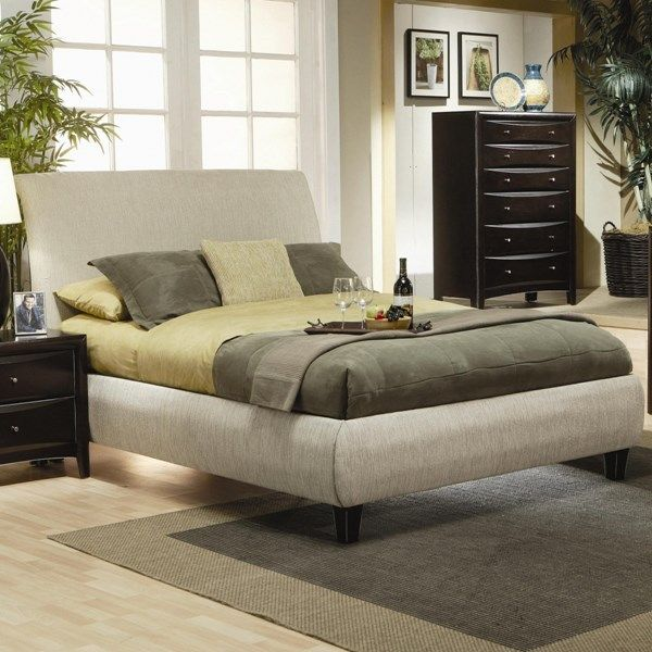 Phoenix Transitional Deep Cappuccino Wood Fabric King Bed CST