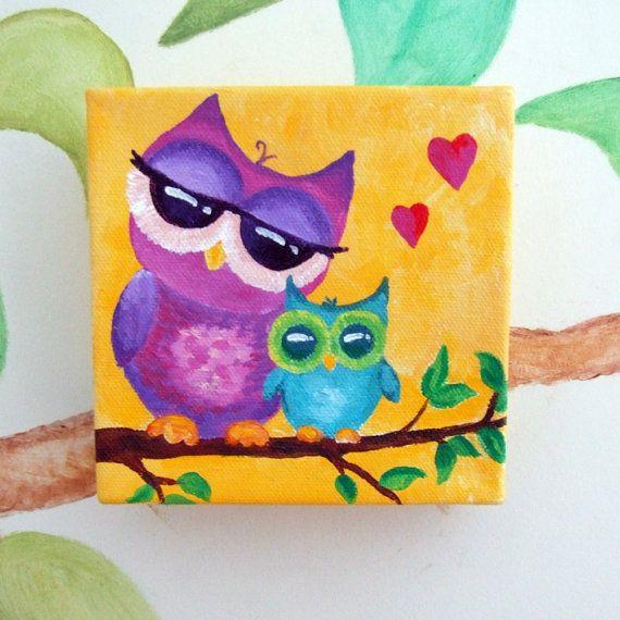 Owl Nursery Art, MAMA LOVE OWLS, 5x5 Canvas Painting, Small Wall Art ...