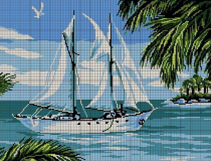 Вышивка парусник на море. Вышивка крестом схемы парусник