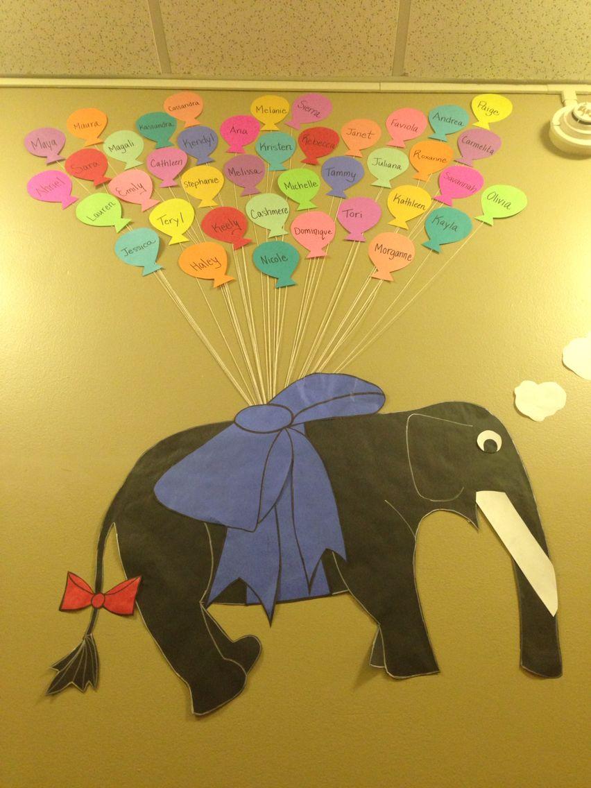 Ra Elephant Traveling With Balloons Bulletin Board Ideas Dinosaur Stuffed Animal Boards