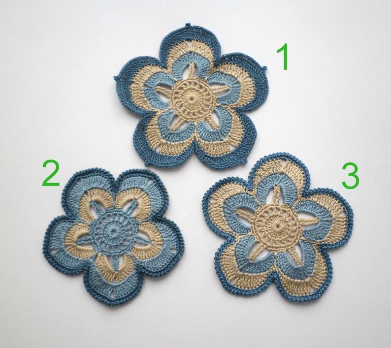 Crochet flower motifs, blue beige denim applique Irish crochet lace decor Party decor clothes Hats embellishment Scrapbook Card making decor #irishcrochetflowers
