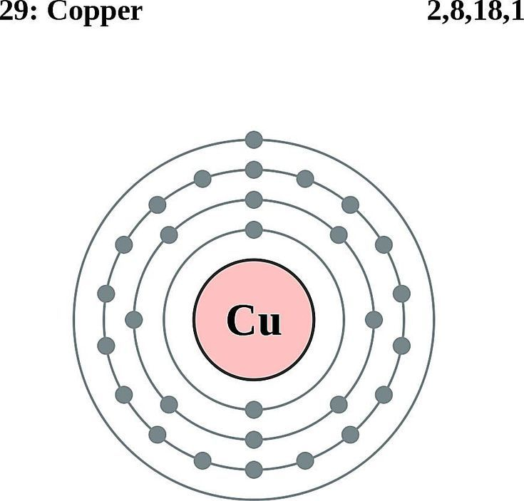 see the electron configuration of atoms of the elements: copper atom  electron shell diagram