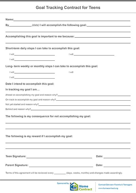 Goal Tracking Contract For Teens  Goal Tracking Contract For