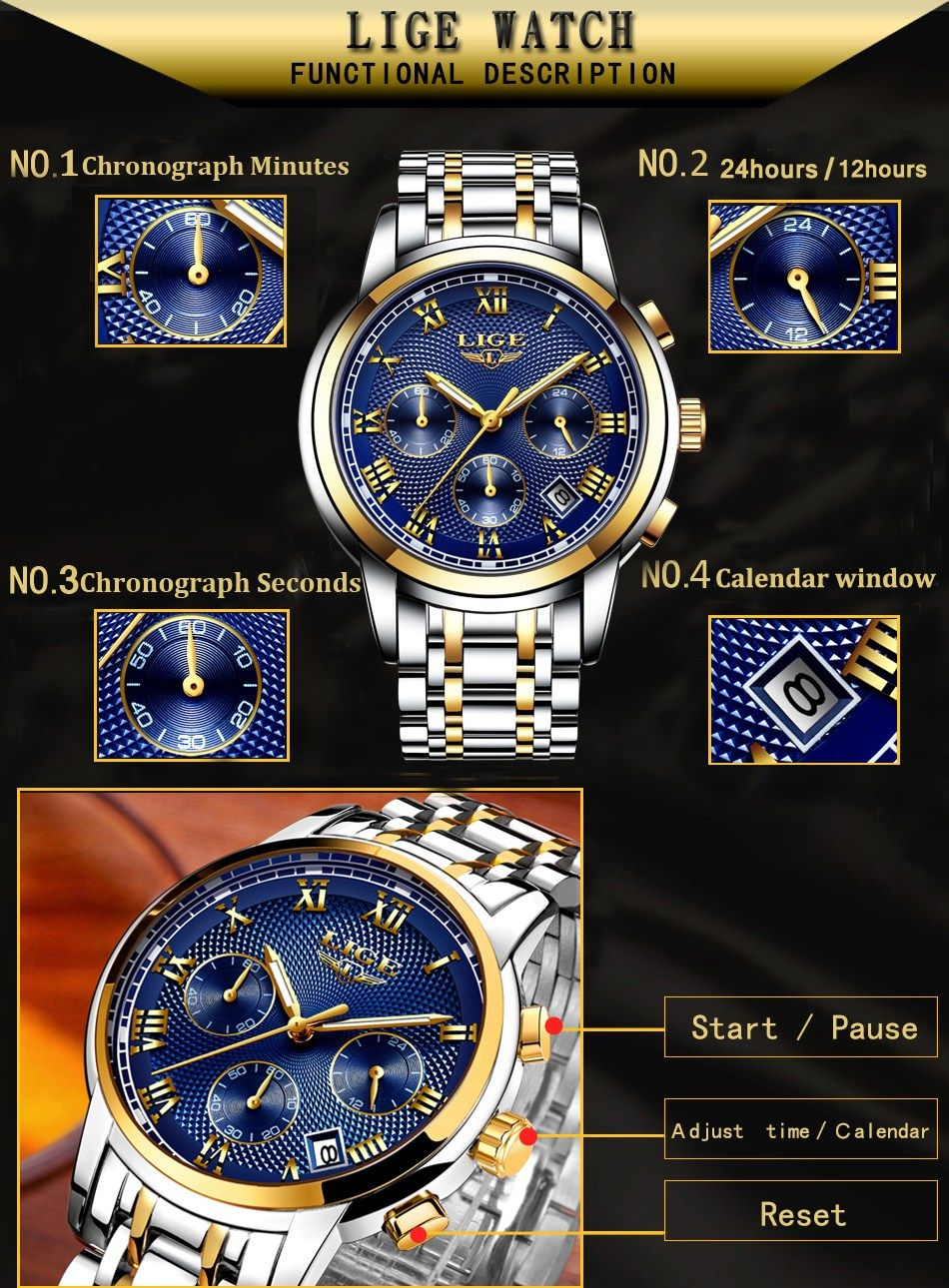 10507f36b0b Luxury and fashionable LIGE Chronograph Wrist Watch for men. bd watch price