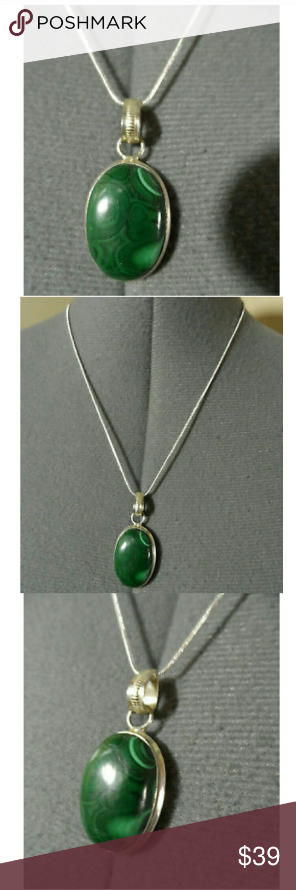 New malachite pendant u silver necklace set boutique