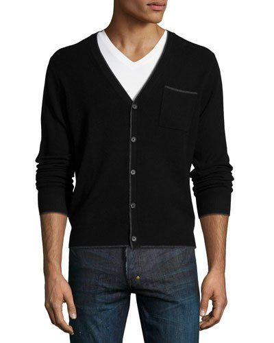 N3X3W Private Label Cashmere Contrast-Tip Modern Cardigan, Black ...