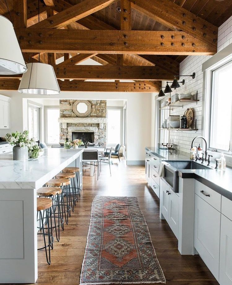 Open Concept Country Kitchen Design, Slightly Rustic Yet