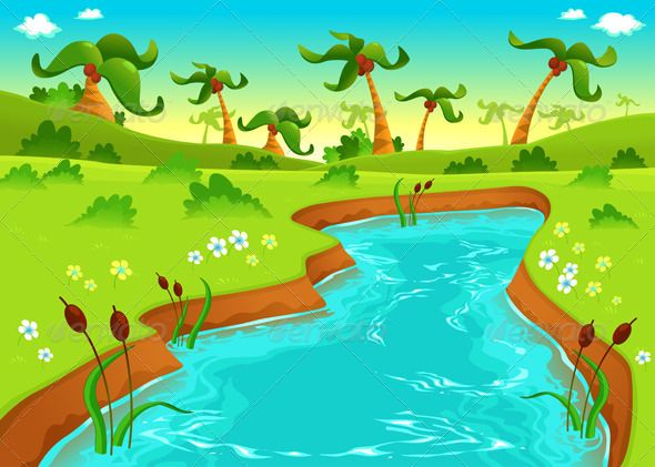 Jungle with Pond Pond, Vector graphics and Template - new jungle powerpoint template