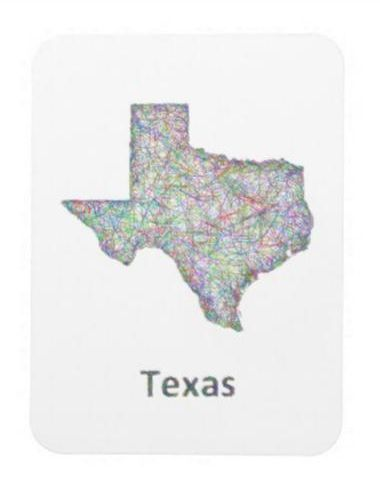 Texas map rectangular photo magnet 550 Colorful line art