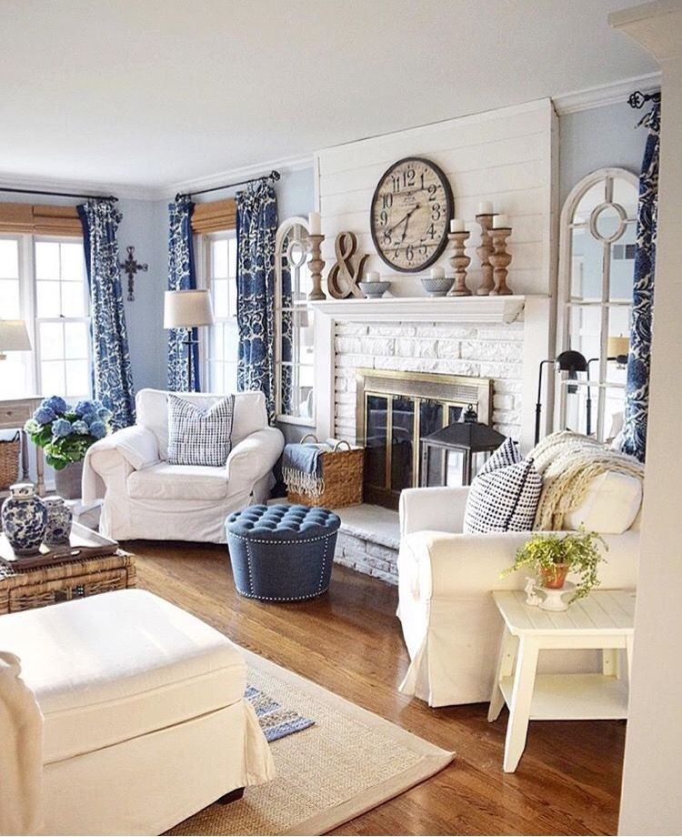 Nice Small Living Rooms: Brick And Shiplap Fireplace