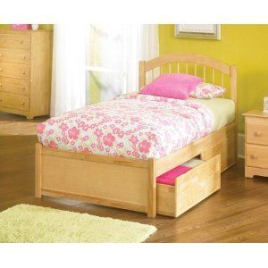 Atlantic Furniture Windsor Platform Bed With Flat Panel Footboard In Natural Maple Twin For