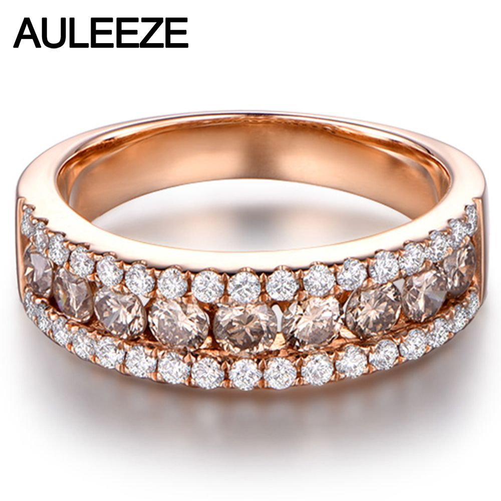 d99b7f71959b Luxury Real Brown Diamond Wedding Band Solid 14K 585 Rose Gold Natural  Diamond Anniversary Ring Bands For Women Fine Jewelry