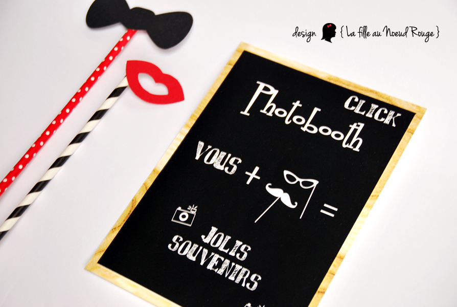 Affiche photobooth style ardoise pour animation mariage  www.lafilleaunoeudrouge.fr