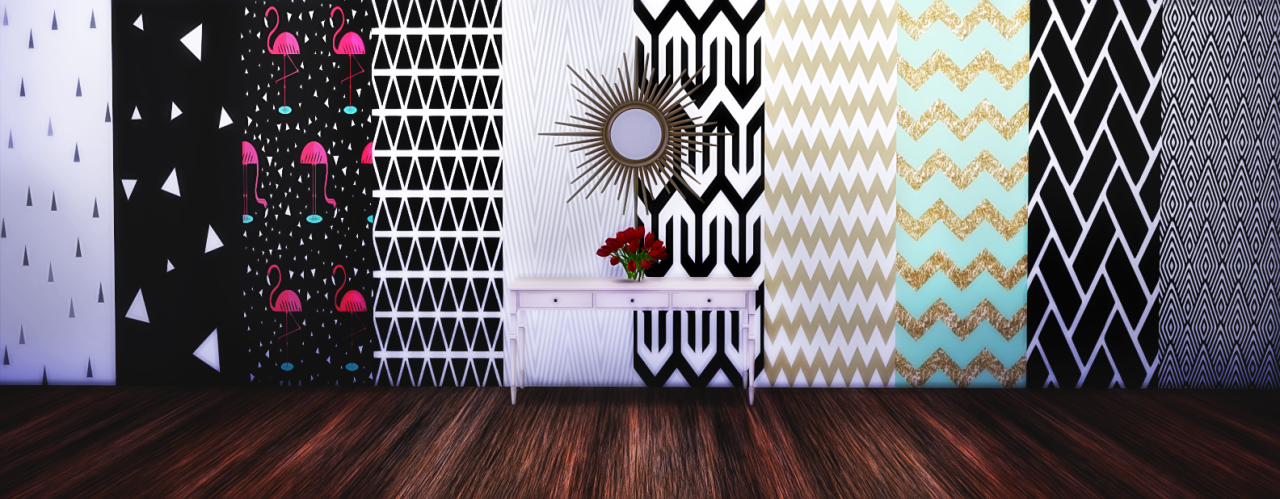 20 Wallpapers With Various Styles Functional With All Three Wall Height You Can Find In The Paint Category Tumblr Sims 4 Sims 4 Toddler Sims 4 Cc Furniture