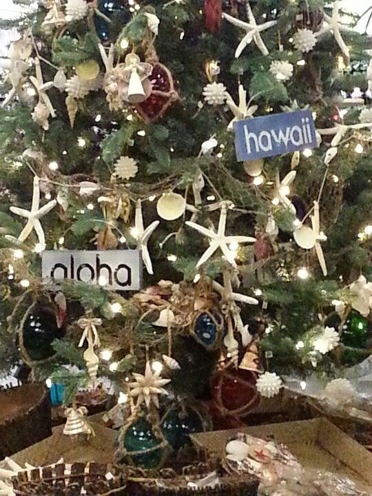 hawaiian decorated christmas tree