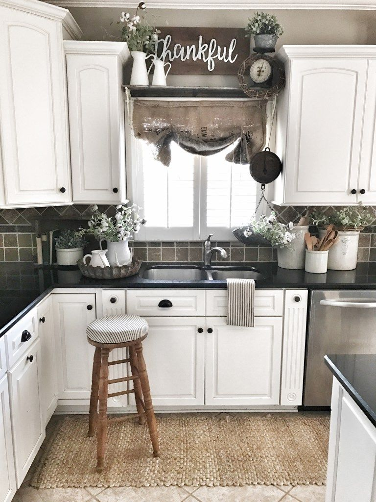 Window above kitchen cabinets  farmhouse kitchen burlap sack shade over window  bless this nest