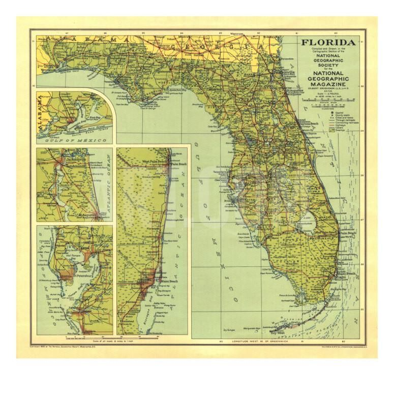 1930 Florida Map Art Print by National Geographic Maps at Art.com
