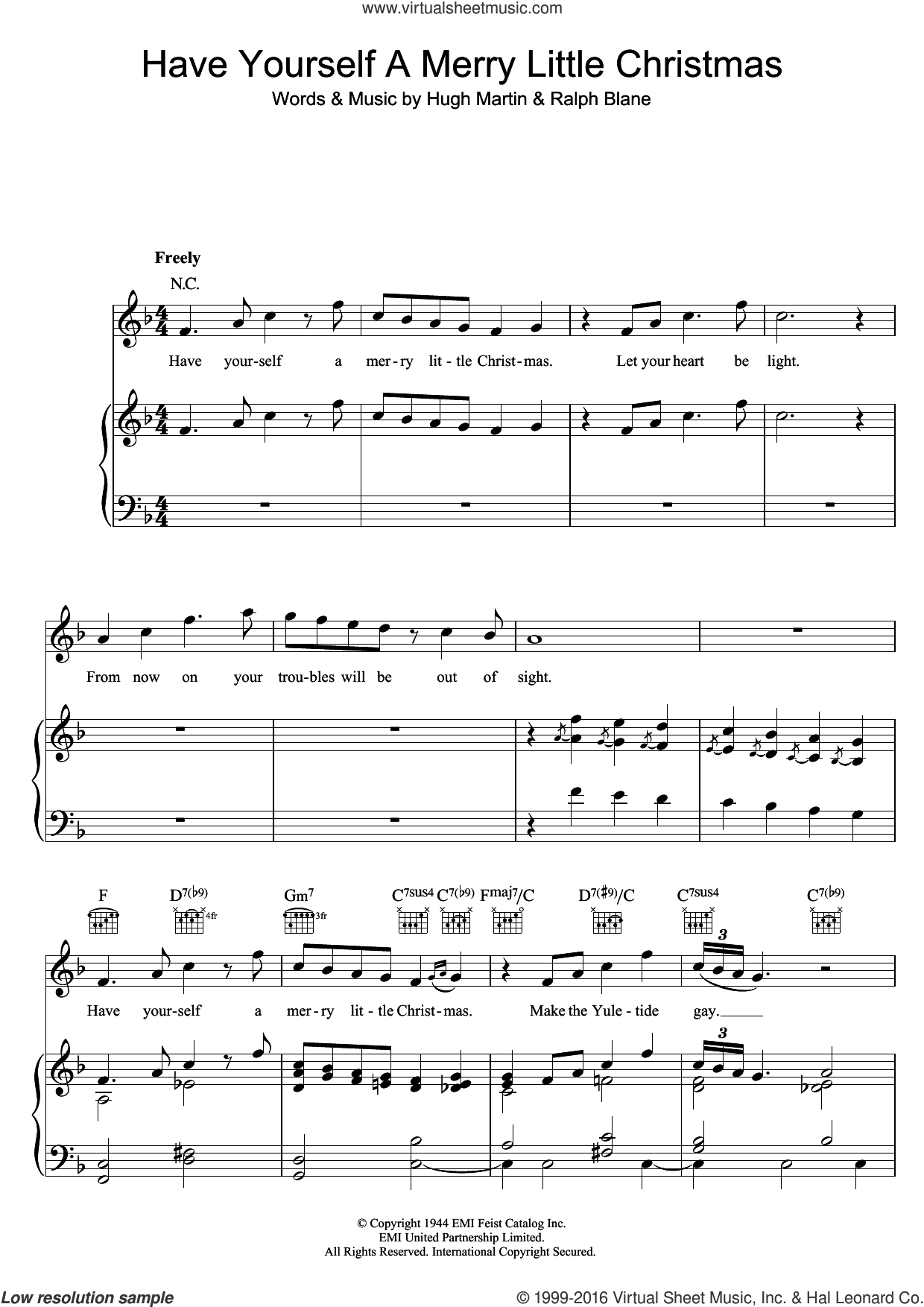 have yourself a merry little christmas sheet music for voice piano